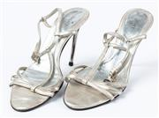 Sale 9027F - Lot 68 - A pair of silver Versace stiletto open toe heels, size 38.