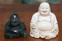 Sale 8963H - Lot 55 - A carved ivory figure of Hotei together with a nephrite example. Taller 7cm
