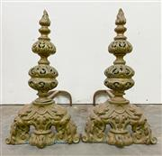 Sale 8972H - Lot 101 - A Pair of Antique French andirons (fire dogs) c1860-1880