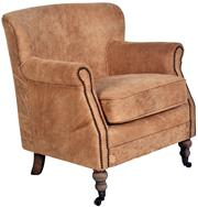 Sale 9010F - Lot 44 - A DISTRESSED TOFFEE LEATHER THICK TOP GRAIN ARM CHAIR WITH STUD DETAIL. H:79 W: 72 D: 74cm