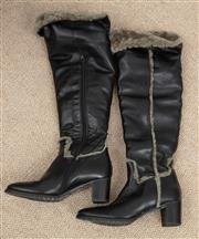 Sale 9066H - Lot 99 - A pair of Italian handmade leather calf length boots in black, wool lined, size 39.5