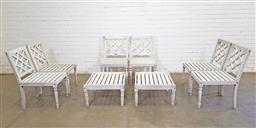Sale 9151 - Lot 1459 - Timber 8 piece patio suite incl 6 chairs and 2 side tables (h:84 x w:50 x d:51cm)