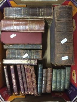 Sale 9152 - Lot 2401 - Two boxes of books inc leather bound shakespear examples and reference books