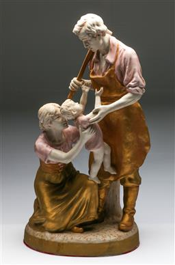 Sale 9175 - Lot 9 - Large Porcelain Statue Of The Blacksmiths Family During The Russian Revolution (H: 62cm)