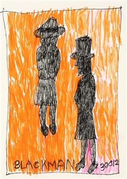 Sale 9248H - Lot 125 - CHARLES BLACKMAN (1928 - 2018) Original Ink on Artist Paper / Card Title and Dated: Alice and the Mad Hatter, 2013 (30012) Han...