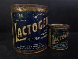 Sale 9254 - Lot 2302 - Set of Two 1924 baby formula tins with lid (largest - h:17cm)
