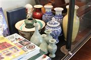 Sale 8189 - Lot 193 - Chinese Blue & White Pair of Vases with Others incl. Yellow Glaze Vase