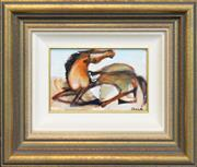 Sale 8266 - Lot 563 - Garry Shead (1942 - ) - Seated Horse 12 x 19cm