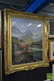 Sale 8537 - Lot 2036 - Continental School - Highland Scene with Rams 116 x 95.5cm (frame size)