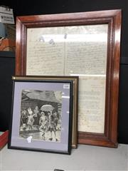 Sale 8836 - Lot 2408 - 3 Framed Victorian Scenes Plus Painted Ceramic by M. Little, Plus Government Letter