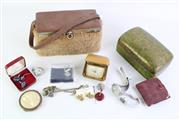 Sale 8835 - Lot 221 - A Small Collection of Jewellery inc Earrings, Cuff Links and Watches (As Found Untested) Together with Lacquered Box