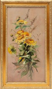 Sale 8980J - Lot 58 - An antique signed oil on canvas C: 1909. The painted sunflowers within a stepped leaf and budding floral giltwood frame, signed and ...