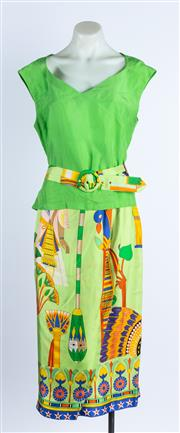 Sale 9010H - Lot 36 - A Byblos two piece set comprising an ankle length wrap skirt in green and a camisole with belt in silk Egyptian design, both size 46
