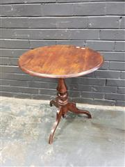 Sale 9014 - Lot 1071 - Late 19th Century Cedar Small Occasional Table, with round top, turned pedestal & three outswept feet (h:68 x w:58cm)