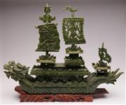 Sale 9044 - Lot 67 - Ornate Chinese Greenstone Ship with Three Detachable Sails together with a Hardwood Stand (H46cm W58cm D13cm)