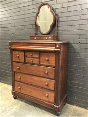 Sale 9068 - Lot 1016 - Late 19th Century Cedar Chest of Eight Drawers with mohogany toilet mirror, the chest with cushion, two deep, two short and three l...