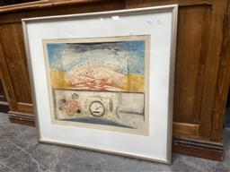 Sale 9094 - Lot 2041 - Artist Unknown Untitled, colour etching ,ed . 19/95, frame: 82 x 89 cm, signed illegibly lower right -