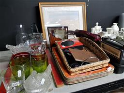 Sale 9101 - Lot 2406 - Lloyd Rees print together with a collection of sundries inc glassware, ceramics, travel radio and trays/platters