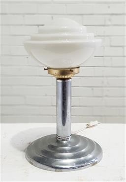 Sale 9151 - Lot 1048 - Art deco chrome table lamp with stepped base and milk glass shade (h40cm)