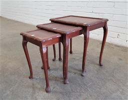 Sale 9137 - Lot 1057 - Nest of 3 timber tables (h:50 x w:50 x d:34cm)