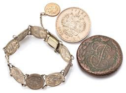 Sale 9149 - Lot 528 - RUSSIAN SILVER COIN BROOCH AND BRACELET PLUS COIN; a 1913 Russian Rouble 900 silver coin commemorating the 300th Anniversary of the...