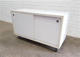 Sale 9151 - Lot 1403 - Pair of off white mobile office cabinets