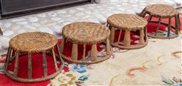 Sale 9164H - Lot 30 - A set of four traditional woven foot stools, each approx Height 20cm x Diameter 36cm