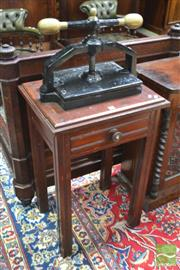 Sale 8282 - Lot 1050 - Late 19th Century Cedar Book Press on Stand, painted black cast iron, fitted drawer & square legs (crack to top)