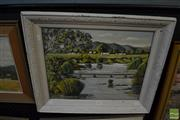 Sale 8458 - Lot 2037 - Artist Unknown - Still River and Country Cottages 36.5 x 46.5cm