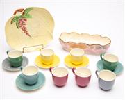 Sale 8590A - Lot 93 - A Carltonware plate, H 22cm, and similar bough pot, together with a Myott harlequin set of coffee cans and saucers