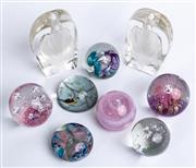 Sale 9010H - Lot 8 - Seven glass paperweights in assorted designs together with two heavy glass pen holders