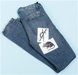Sale 9091F - Lot 223 - A PAIR OF KSUBI BLUE JEANS with patch work to back, size 28, with tags