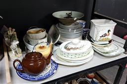 Sale 9101 - Lot 2413 - Collection of sundries inc Villeroy and Boch Tureen, duck themed jardinieres, handbag with tote and French porcelain plates