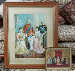 Sale 9103M - Lot 590 - Two framed prints of the royal family.