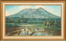 Sale 9164H - Lot 31 - G. A. Kadir 1973, In the Ricefield , view of Mount Salak, oil on canvas, signed lower right.