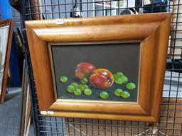 Sale 9155 - Lot 2052 - Artist Unknown (C20th) Apples and Grapes, oil on canvas, frame: 37 x 46 cm, signed lower left -