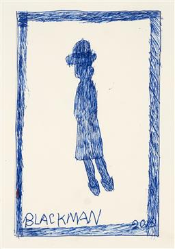 Sale 9248H - Lot 159 - CHARLES BLACKMAN (1928 - 2018) Original Ink on Artist Paper / Card Title and Dated: Blue Schoolgirl, 2016 Hand Signed: Lower I...