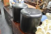 Sale 8058 - Lot 1068 - Two Pairs Of Graduated Black Bycast Leather Ottomans