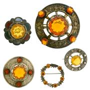 Sale 8087B - Lot 316 - FIVE SCOTTISH PASTE SET BROOCHES; one marked WJ&S set with agates, one marked W.B.S, one hallmarked RA, all in sterling silver, plus...