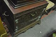 Sale 8380 - Lot 1038 - Metal Bound Timber Coal Chest with Decorative Stud Work