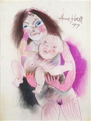 Sale 8466A - Lot 5025 - Anne Hall (1946 - ) (3 works) - A Mother and Child, 1977; Nude Studies 76 x 56cm, each (sheet size)