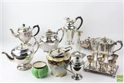 Sale 8529 - Lot 183 - Silver Plated Wares with Cruet Set, Lidded Teapots and Ceramic