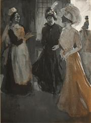 Sale 8597 - Lot 581 - Benjamin Edwin Minns (1864 - 1937) - Society Ladies, Charity Ball 25.5 x 18.5cm