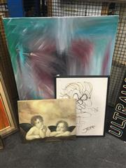 Sale 8707 - Lot 2062 - 3 Works: Jeff - Bob Hawke Spitting the Dummy, Caricature, SLR;  Unknown Artist - Girl Sleeping, canvas, unsigned & Angel Print