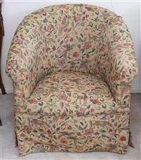 Sale 8963H - Lot 73 - An early tub chair in a cream animal and floral tapestry fabric. Height of back 70cm