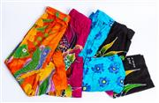 Sale 9010H - Lot 29 - Four wrap buttoned pool skirts in tropical designs and various colours, all size M