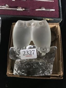 Sale 9101 - Lot 2327 - Glass Owl Pair Figure & Collection of Old Pennies