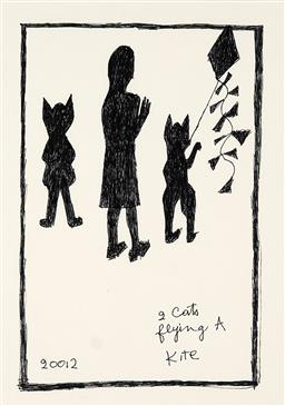 Sale 9248H - Lot 44 - CHARLES BLACKMAN (1928 - 2018) - Two Cats Flying a Kite, 2012 original ink on artist paper