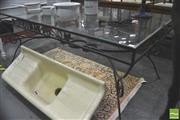 Sale 8302 - Lot 1016 - Metal Based Glass Top Outdoor Table