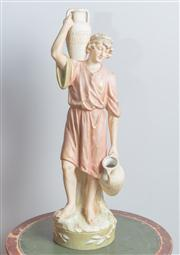 Sale 8470H - Lot 85 - A Royal Dux figure of a classical youth water carrier, H 49cm
